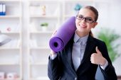 Young businesswoman in healthy lifestyle concept